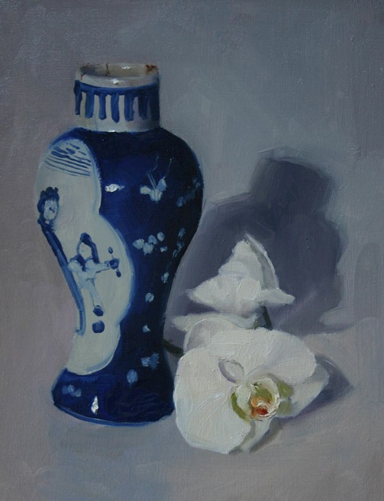 Japanese vase with orchid by Liz Balkwill at the Saffron Walden Gallery