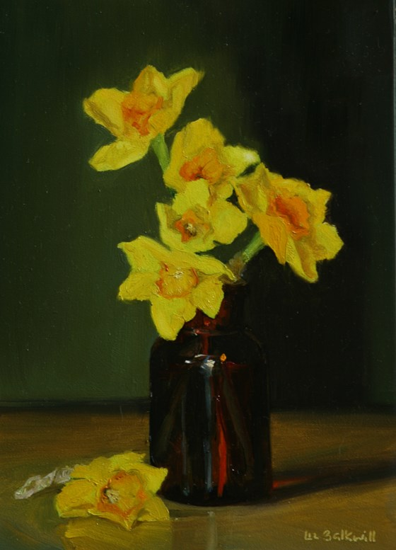 Narcissi in brown bottle by Liz Balkwill at the Saffron Walden Gallery