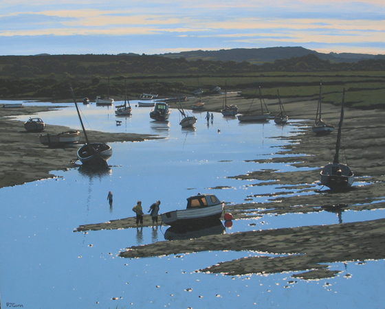 Evening on Burnham Overy Creek by Paul J Gunn at the Saffron Walden Gallery