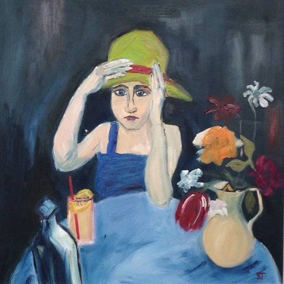 Girl in a Yellow Hat by Jane Thompson at the Saffron Walden Gallery