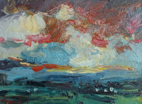 Evening Landscape by Deborah Donnelly at the Saffron Walden Gallery