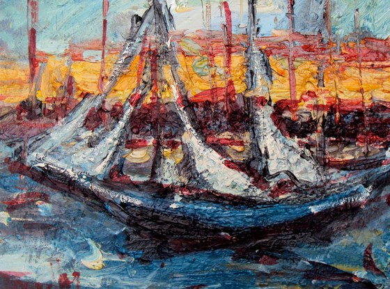 Tall Ships  by Deborah Donnelly at the Saffron Walden Gallery