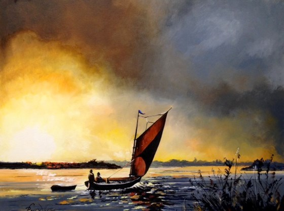 Wherry on the Norfolk Broads at Sunset by Roger Harvey at the Saffron Walden Gallery