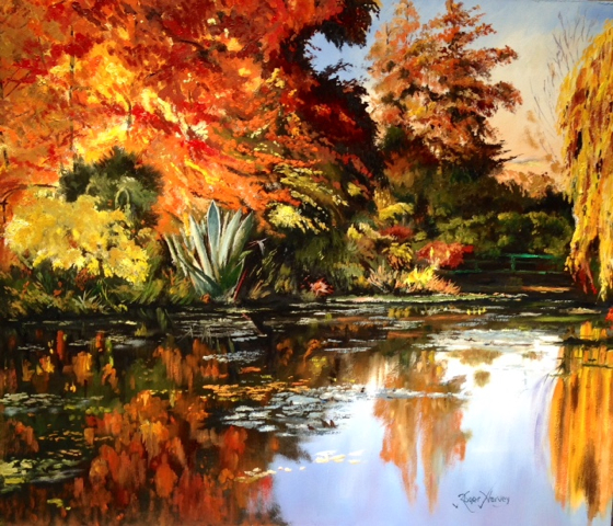 Autumn Sunset at Monet's Garden, Giverny