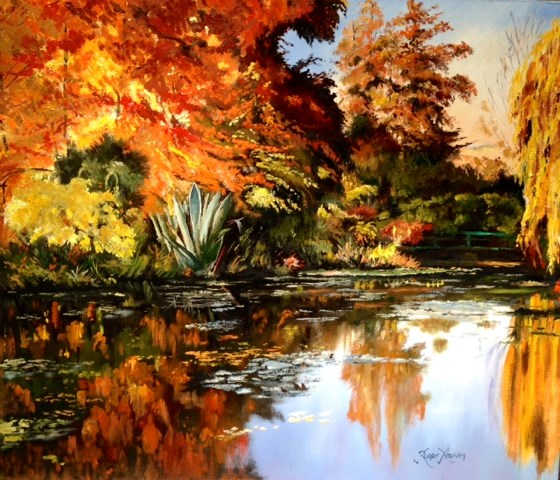 Autumn Sunset at Monet's Garden, Giverny by Roger Harvey at the Saffron Walden Gallery