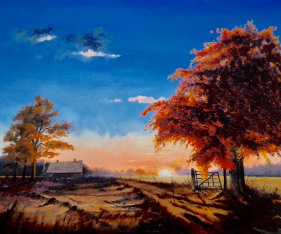 Colours of October Sunset by Roger Harvey at the Saffron Walden Gallery