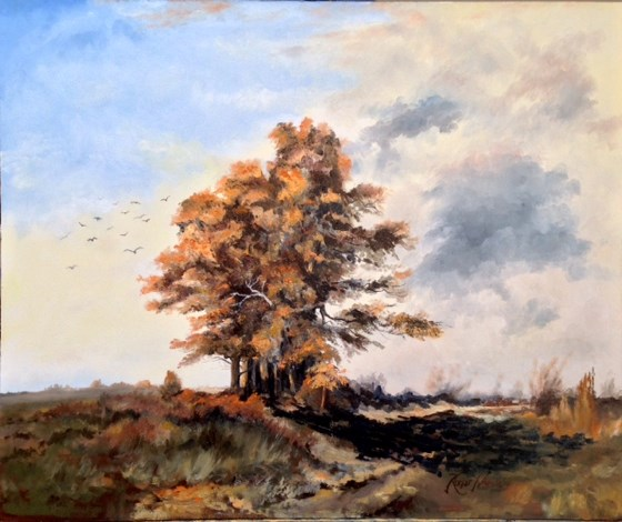 Early Autumn Sunset, North Essex Hills by Roger Harvey at the Saffron Walden Gallery