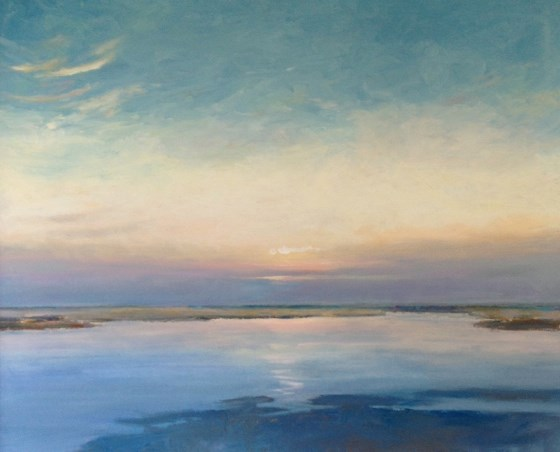 Misty Sunset, North Norfolk by Stephen James at the Saffron Walden Gallery