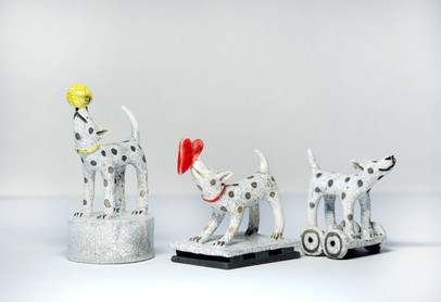 Raku Ceramic Dogs by Demelza Whitley at the Saffron Walden Gallery