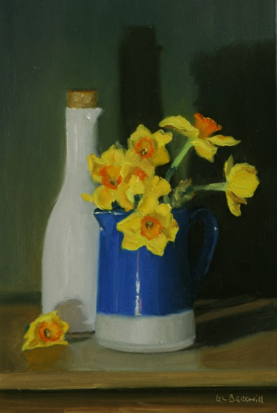 Narcissi in blue jug with white carafe by Liz Balkwill at the Saffron Walden Gallery