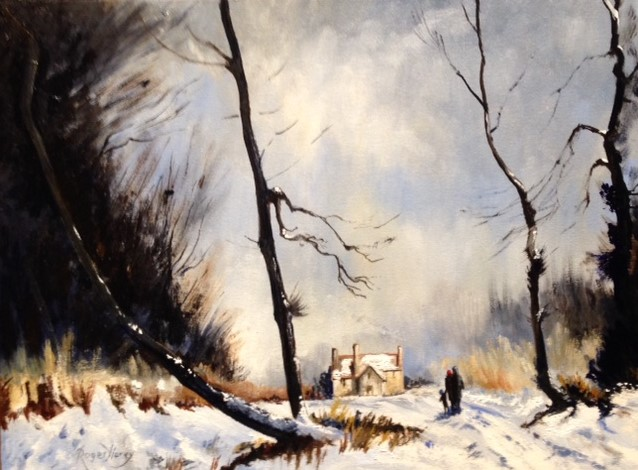 Snowfall in Suffolk Woods by Roger Harvey at the Saffron Walden Gallery