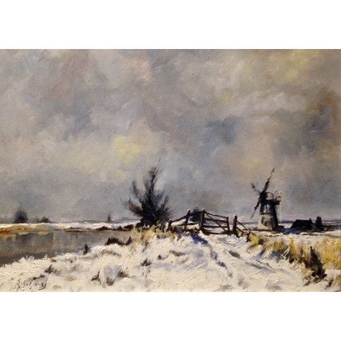 Winter at Thurne Mill, Suffolk by Roger Harvey at the Saffron Walden Gallery
