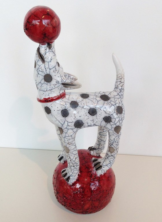 Dog on a Red Ball by Demelza Whitley at the Saffron Walden Gallery