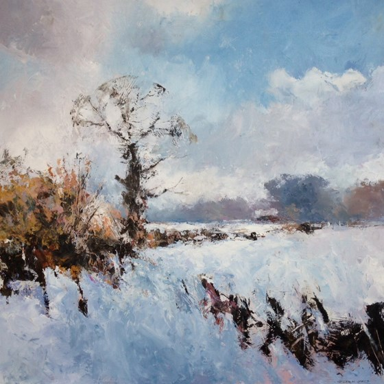 Essex Snow Scene by Stephen James at the Saffron Walden Gallery