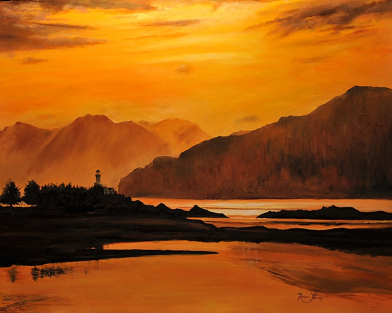 The Sound of Sleat and Ornsay Lighthouse by Roger Harvey at the Saffron Walden Gallery