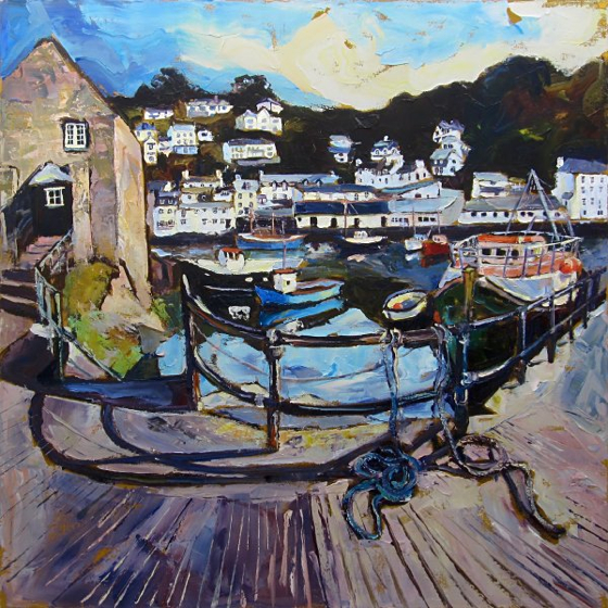 Polperro Harbour from the Quay by Susan Isaac at the Saffron Walden Gallery