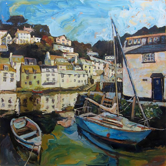 The Old Harbour Wall at Polperro by Susan Isaac at the Saffron Walden Gallery