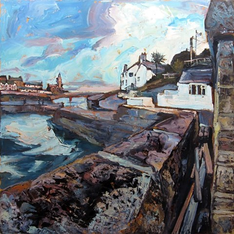 Porthleven Harbour and the Ship Inn by Susan Isaac at the Saffron Walden Gallery