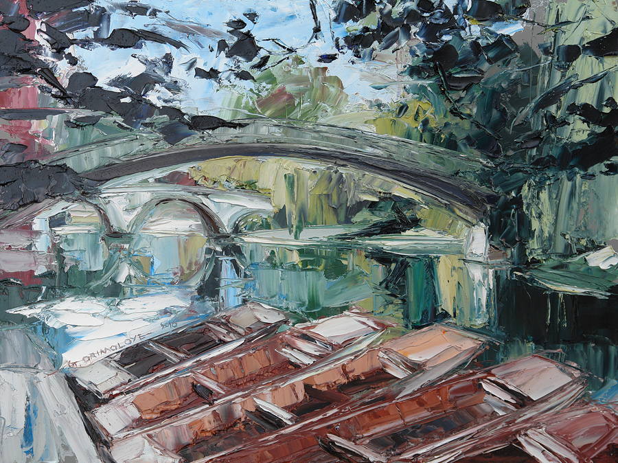 Punts and Garret Hostel Bridge Cambridge by Daniel Gbenga Orimoloye at the Saffron Walden Gallery