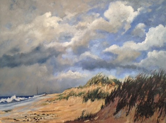 Sand Dunes near Walberswick, Suffolk by Roger Harvey at the Saffron Walden Gallery
