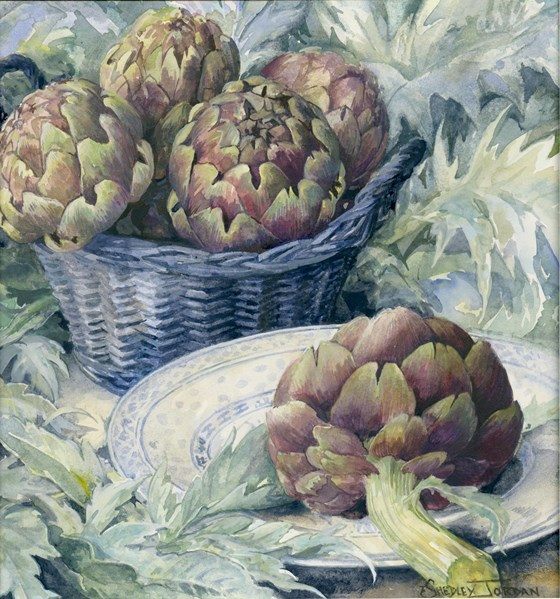 Globe Artichokes by Tessa Shedley Jordan at the Saffron Walden Gallery