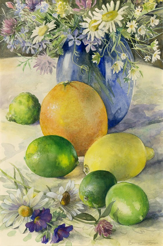 Still Life & Citrus Fruits by Tessa Shedley Jordan at the Saffron Walden Gallery