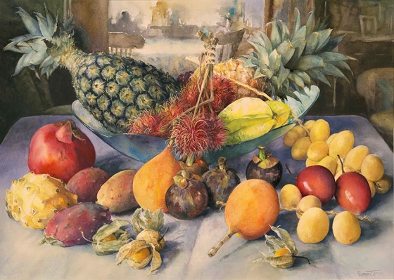 Tropical Fruits by Tessa Shedley Jordan at the Saffron Walden Gallery