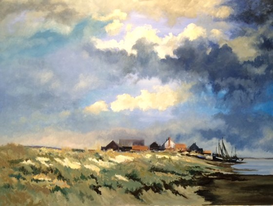 Sand Dune, Fishing Boats, Suffolk Coast by Roger Harvey at the Saffron Walden Gallery