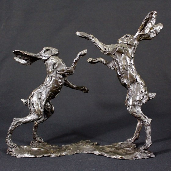 Boxing Hares by Laura Pentreath at the Saffron Walden Gallery