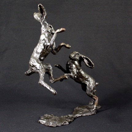 Leaping Hares by Laura Pentreath at the Saffron Walden Gallery