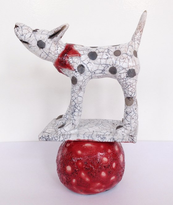 Dog with Red Collar by Demelza Whitley at the Saffron Walden Gallery
