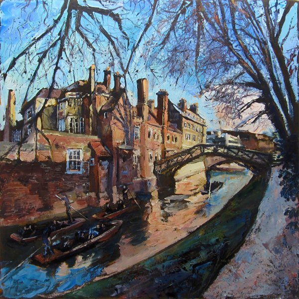 Queens College & Mathematical Bridge, Cambridge by Susan Isaac at the Saffron Walden Gallery
