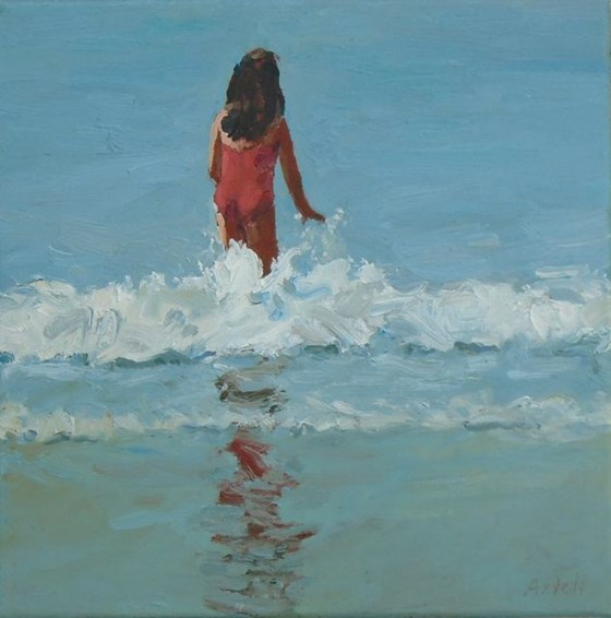 Little Red Jumping a Wave by David Axtell at the Saffron Walden Gallery