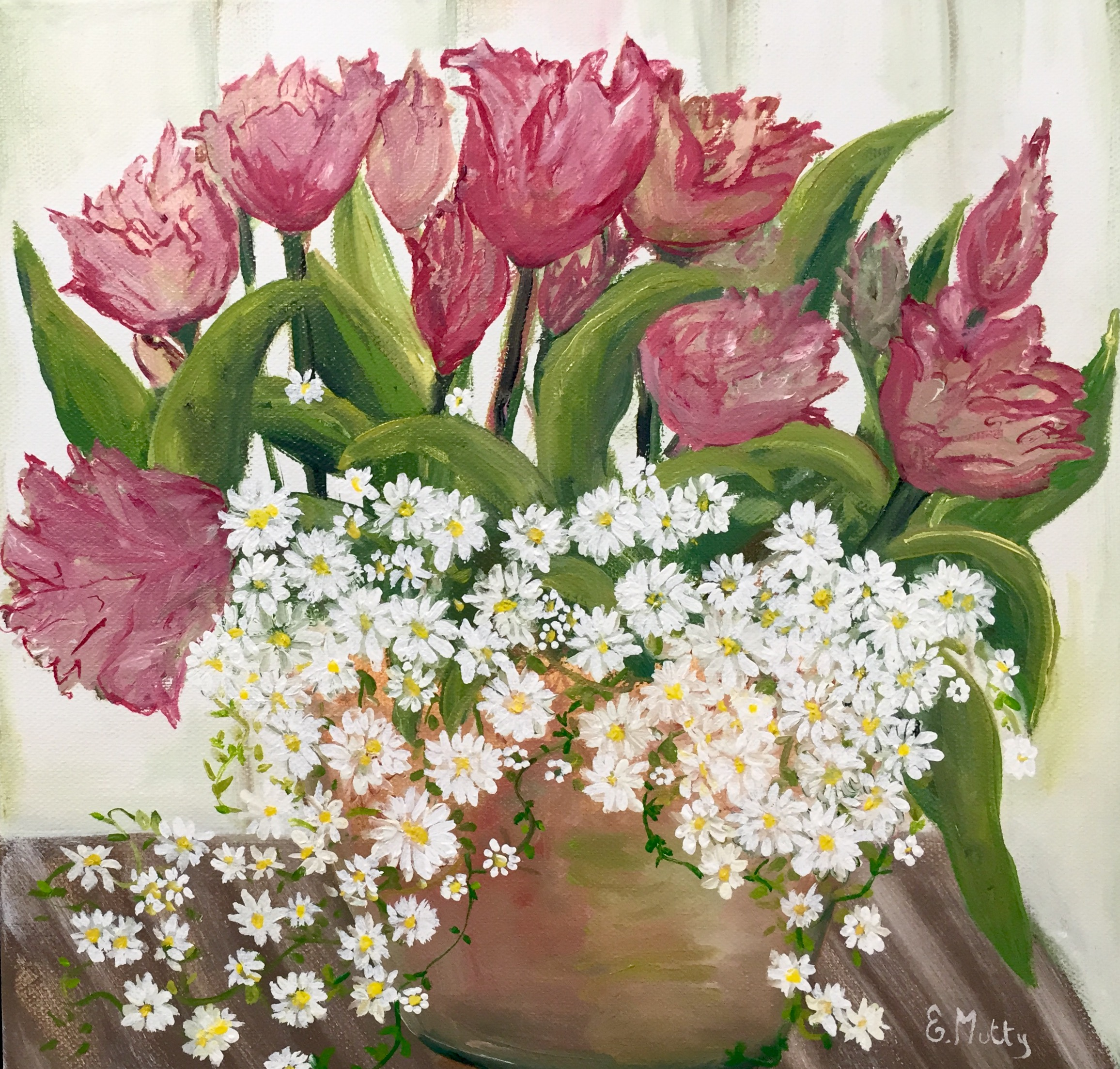 Tulips and Daisies by Elisabetta Mutty at the Saffron Walden Gallery