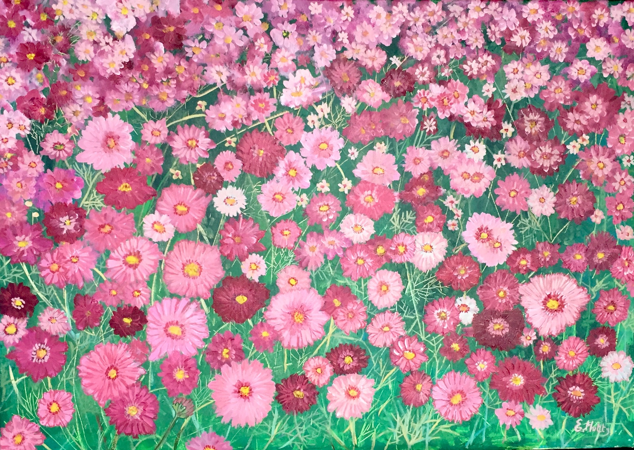 Pink Cosmos by Elisabetta Mutty at the Saffron Walden Gallery
