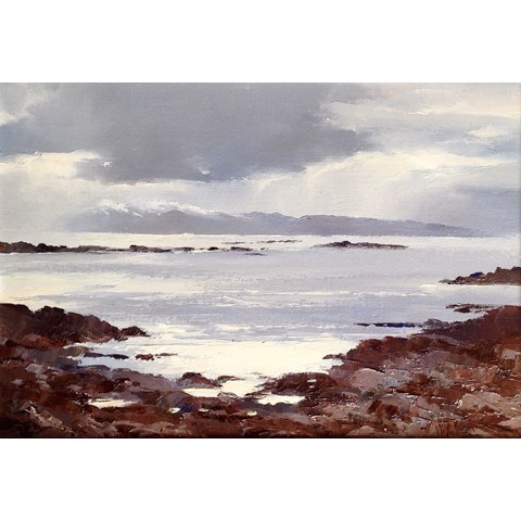 Snow Showers over Rum, from Gillean Isle of Skye by  at the Saffron Walden Gallery