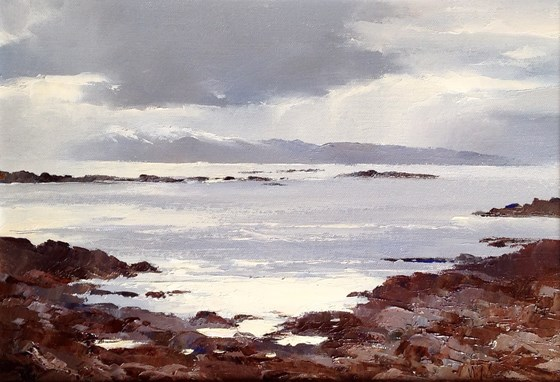 Snow Showers over Rum, from Gillean Isle of Skye by William James Swann at the Saffron Walden Gallery