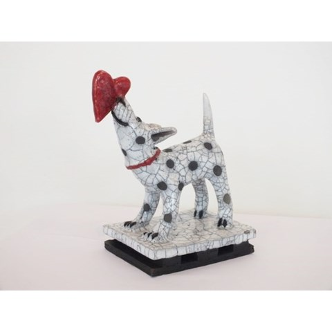 Dog with a Heart by Demelza Whitley at the Saffron Walden Gallery