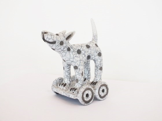 Dog on Wheels by Demelza Whitley at the Saffron Walden Gallery
