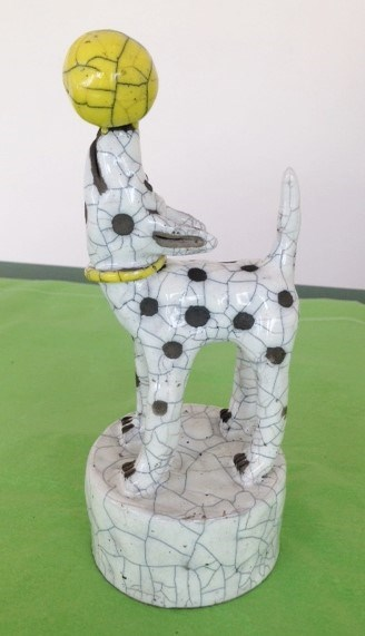 Dog with yellow ball by Demelza Whitley at the Saffron Walden Gallery