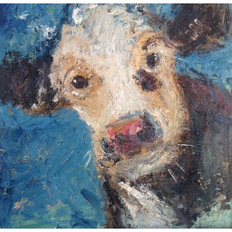 Blue Cow by Deborah Donnelly at the Saffron Walden Gallery