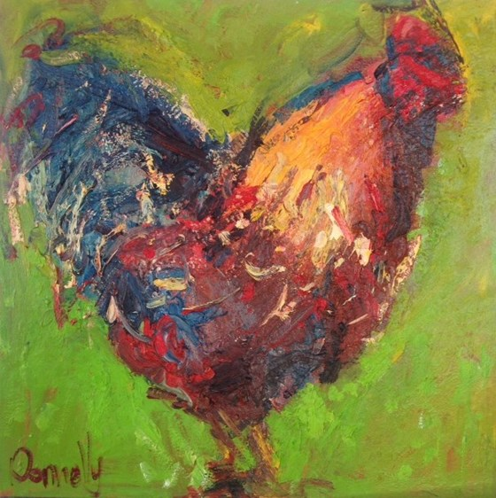 Green Cockerel by Deborah Donnelly at the Saffron Walden Gallery