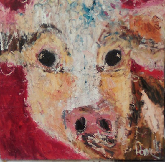 Red Daisy Cow by Deborah Donnelly at the Saffron Walden Gallery