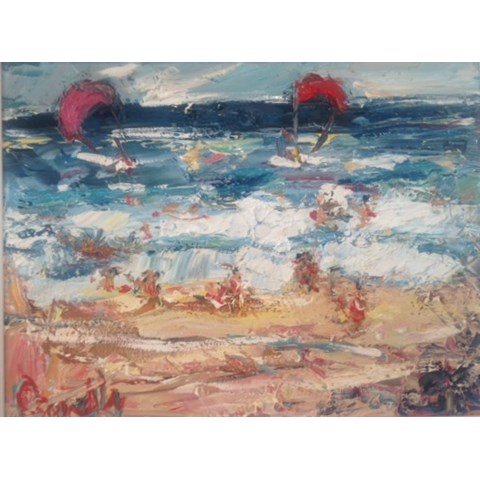 Kite Surfing at the Beach by Deborah Donnelly at the Saffron Walden Gallery