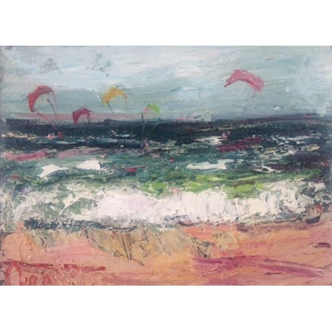 Kite Surfing at the Beach II by Deborah Donnelly at the Saffron Walden Gallery
