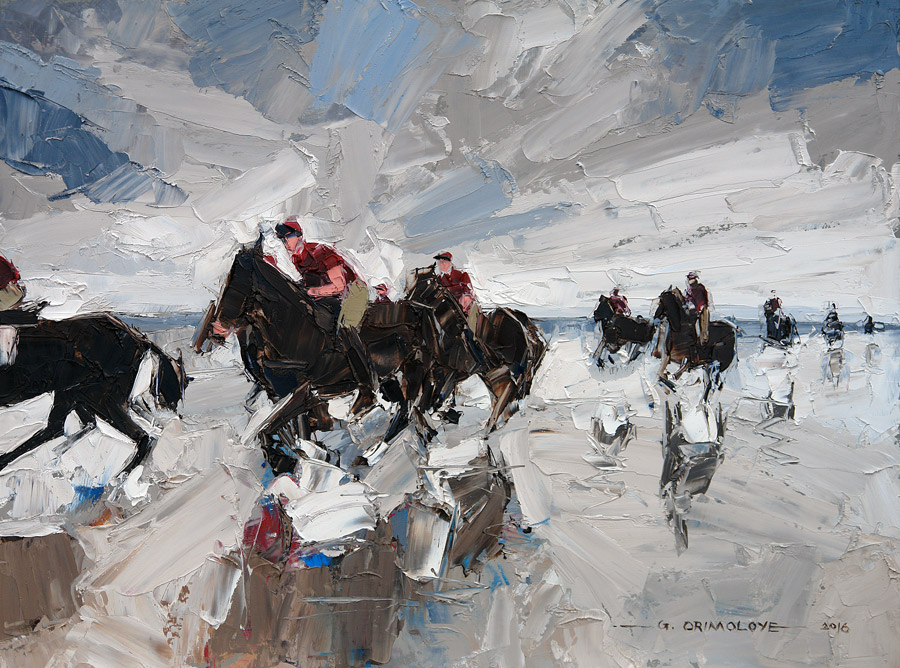 Household Cavalry Mounted Regiment, Holkham Beach by Daniel Gbenga Orimoloye at the Saffron Walden Gallery