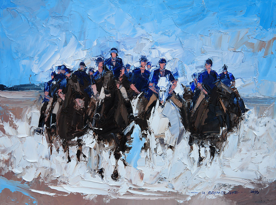The Blues and Royals, Holkham Surf by Daniel Gbenga Orimoloye at the Saffron Walden Gallery