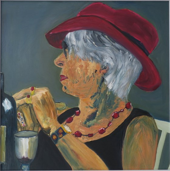 Woman in a Red Hat by Jane Thompson at the Saffron Walden Gallery