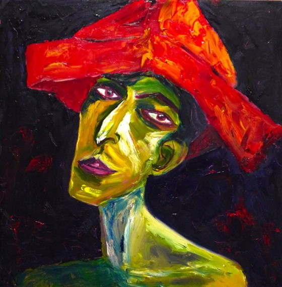 Figure in a Red Hat by Jane Thompson at the Saffron Walden Gallery