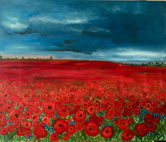 Poppies and Blue by Elisabetta Mutty at the Saffron Walden Gallery